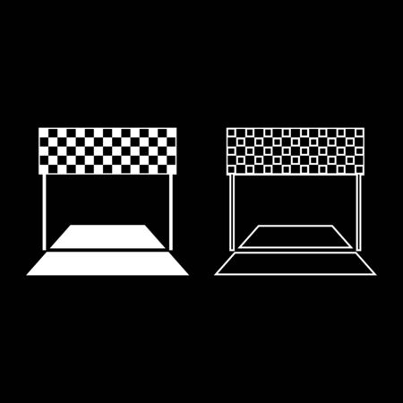 Finish concept Maraphon line racing panorama road icon outline set white color vector illustration flat style simple image