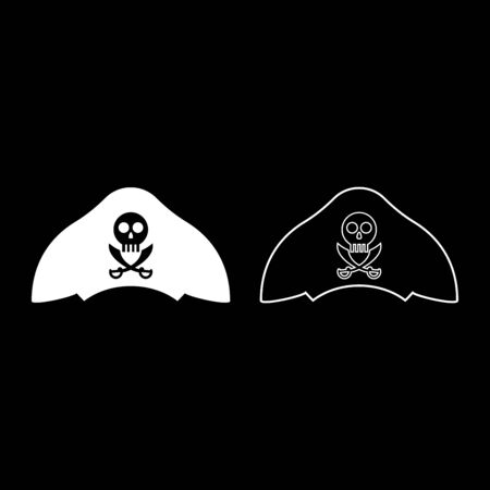 Pirate hat with skull and saber cutlass icon outline set white color vector illustration flat style simple image