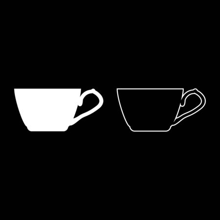 Tea cup icon outline set white color vector illustration flat style simple image