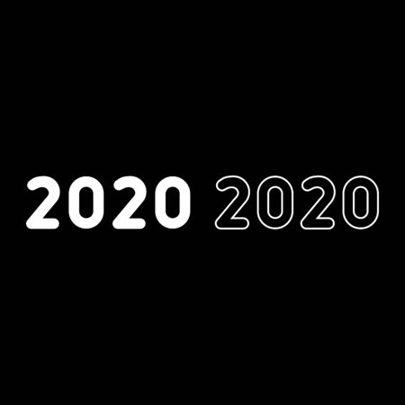 2020 text symbols New Year letters icon outline set white color vector illustration flat style simple image Illusztráció