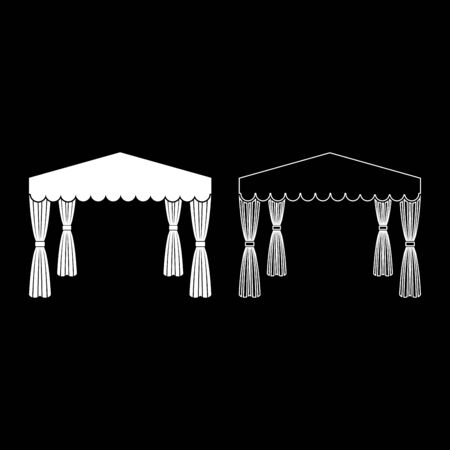 Canopy Pop up tent Commercial pavilion Awning for rest Marquee Chuppah icon outline set white color vector illustration flat style simple image Illusztráció