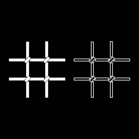 Prison bars Metal grid icon outline set white color vector illustration flat style simple image Ilustracja
