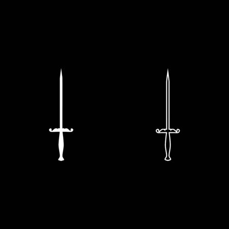 Stylet knife Stiletto icon outline set white color vector illustration flat style simple image Иллюстрация