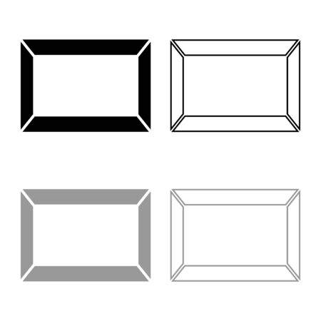 Picture frame Squared shape icon outline set black grey color vector illustration flat style simple image