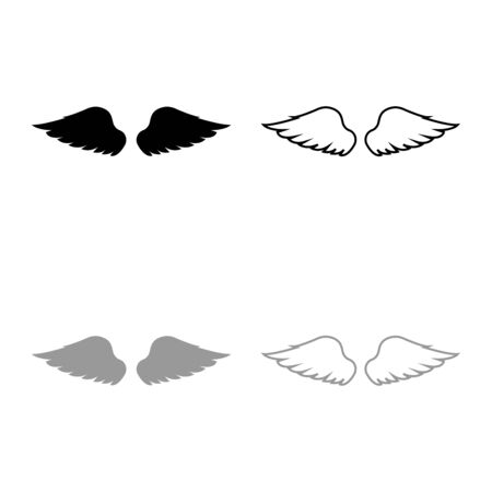 Wings of bird devil angel Pair of spread out animal part Fly concept Freedom idea icon outline set black grey color vector illustration flat style simple image  イラスト・ベクター素材