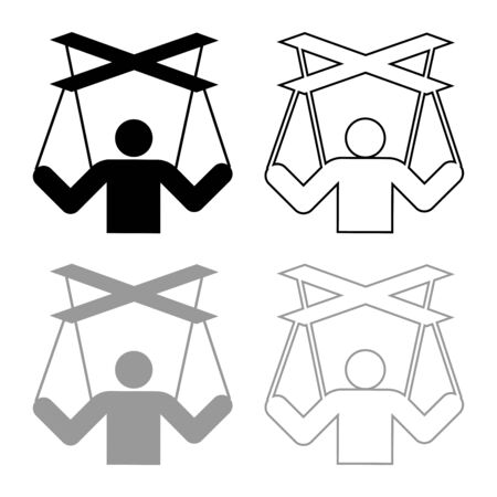 Human manipulation concept Puppet stick man manipulating on string Dependence theme Control people Management executive idea icon outline set black grey color vector illustration flat style simple ima
