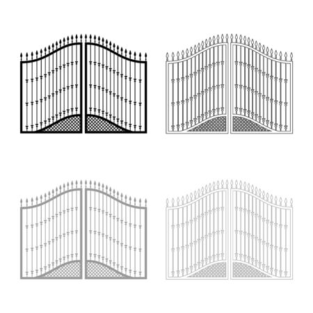 Forged gates icon outline set black grey color vector illustration flat style simple image