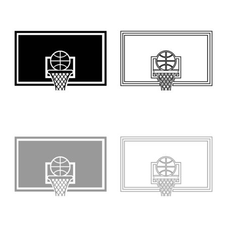 Basketball hoop and ball Backboard and grid basket icon outline set black grey color vector illustration flat style simple image