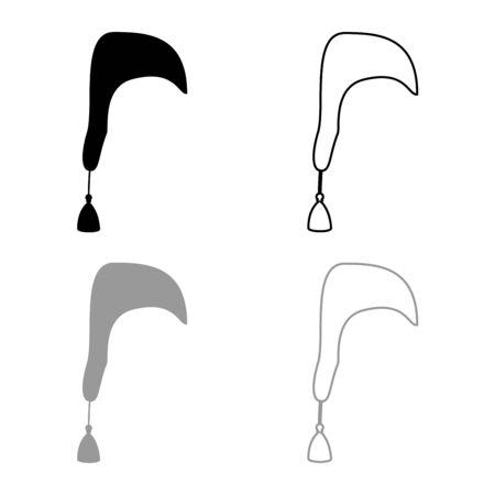 Nightcap Hat for sleep icon outline set black grey color vector illustration flat style simple image Ilustração