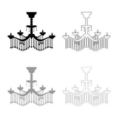 Chandelier icon outline set black grey color vector illustration flat style simple image
