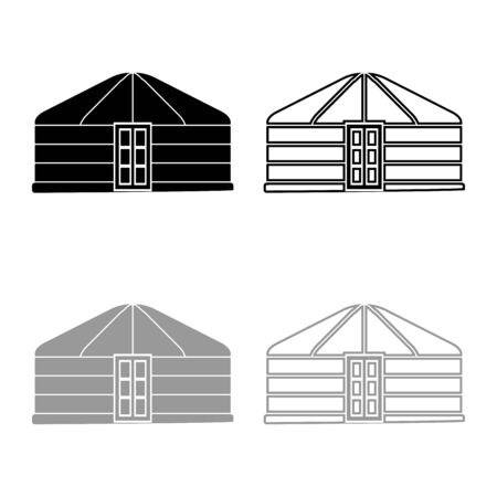 Yurt of nomads Portable frame dwelling with door Mongolian tent covering building icon outline set black grey color vector illustration flat style simple image  イラスト・ベクター素材