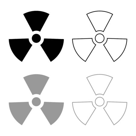 Radioactivity Symbol Nuclear sign icon outline set black grey color vector illustration flat style simple image