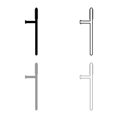 Baton icon outline set black grey color vector illustration flat style simple image