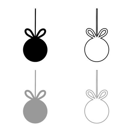 Christmas tree ball with ribbon bow for advertising Big sale concept icon outline set black grey color vector illustration flat style simple image