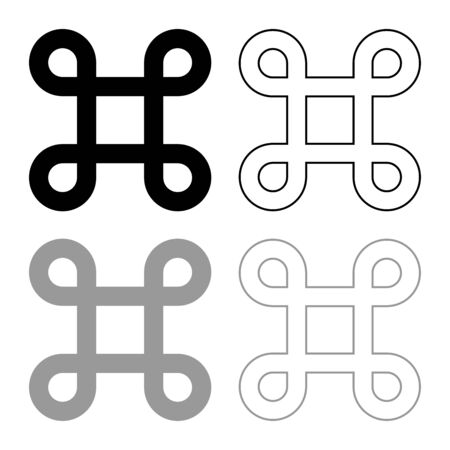Sharp symbol Hashtag Label Tag icon outline set black grey color vector illustration flat style simple image  イラスト・ベクター素材