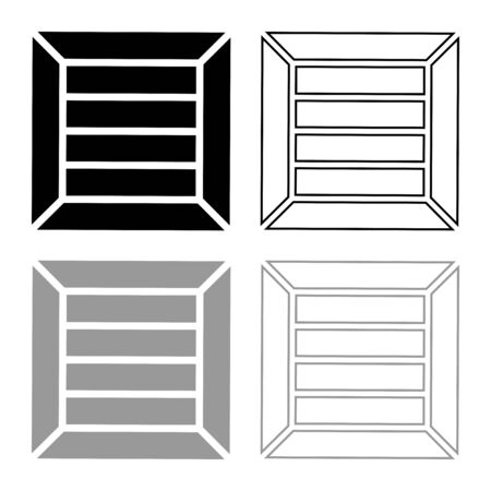 Crate for cargo transportation Wooden box Container icon outline set black grey vector illustration flat style simple image  イラスト・ベクター素材