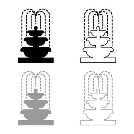 Fountain Tier of Water icon outline set black grey color vector illustration flat style simple image  イラスト・ベクター素材