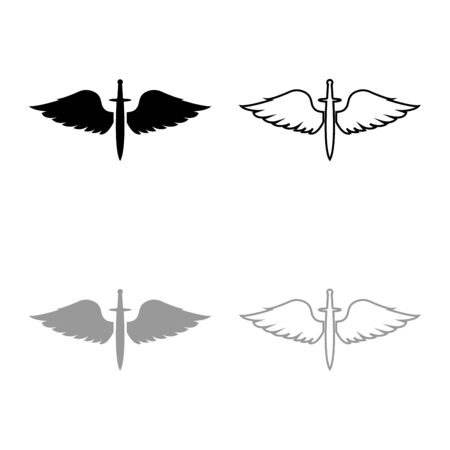 Wings and sword symbol cadets Winged blade weapon medieval age Warrior insignia Blazon bravery concept icon outline set black grey color vector illustration flat style simple image