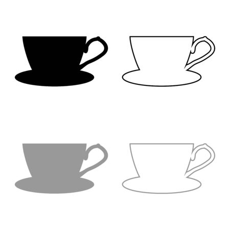 Tea cup with saucer icon outline set black grey color vector illustration flat style simple image