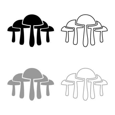 Mushrooms icon outline set black grey color vector illustration flat style simple image