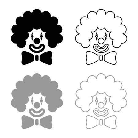 Clown face head with big bow and curly hair Circus carnival funny invite concept icon outline set black grey color vector illustration flat style simple image  イラスト・ベクター素材