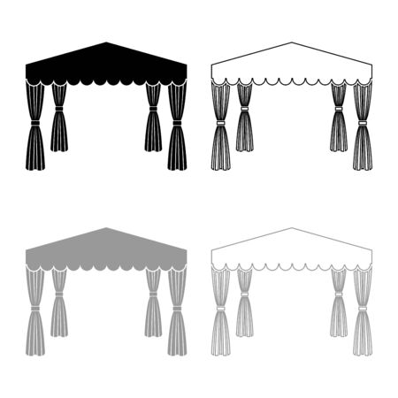 Canopy Pop up tent Commercial pavilion Awning for rest Marquee Chuppah icon outline set black grey color vector illustration flat style simple image
