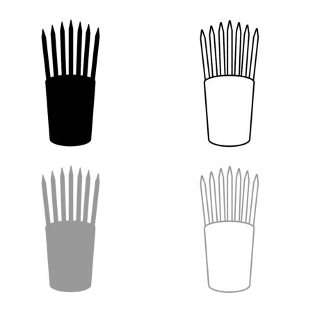 Pencils in glass stands upright office supplier concept Work place icon outline set black grey color vector illustration flat style simple image