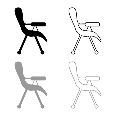 Feeding chair icon outline set black grey color vector illustration flat style simple image  イラスト・ベクター素材