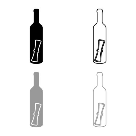 Bottle with letter Message concept Folded scroll document in old container icon outline set black grey color vector illustration flat style simple image
