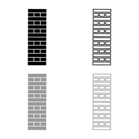 Brick Pillar Blocks in stack Jenga game for home adult and kids leisure Board games Wooden block icon outline set black grey color vector illustration flat style simple image