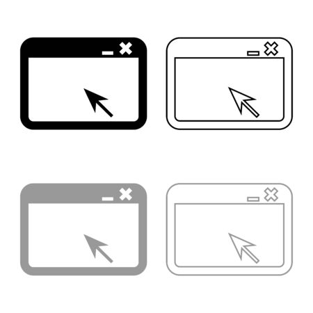 Window application with arrow Browser concept web page icon outline set black grey color vector illustration flat style simple image