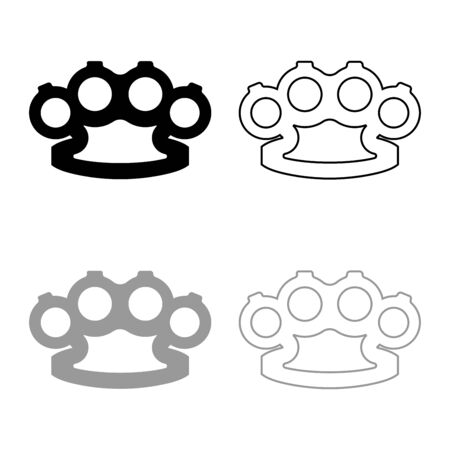 Knuckleduster Knuckles Weapon for hand icon outline set black grey color vector illustration flat style simple image
