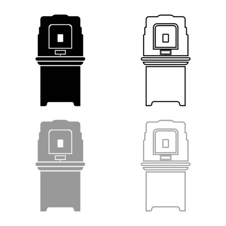 Electoral voting machine Electronic EVM Election equipment VVPAT icon outline set black grey color vector illustration flat style simple image  イラスト・ベクター素材