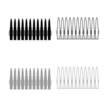 Balles dans la rangée de cartouches de mitrailleuses ceinture Bandoleer War concept contour icon set couleur gris noir vector illustration télévision image simple style