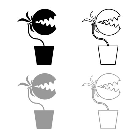 Carnivorous plant Flytrap Monster with teeths in pot icon outline set black grey color vector illustration flat style simple image