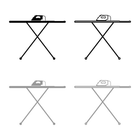 Ironing board with iron icon outline set black grey color vector illustration flat style simple image