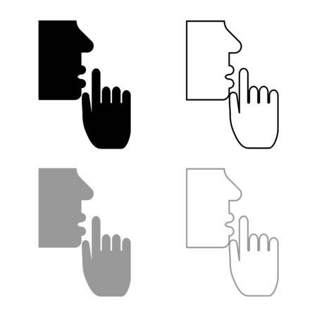 Keep silence concept Man shows index finger quietly Person closed his mouth Shut his lip Shh gesture Stop talk please theme Mute icon outline set black grey color vector illustration flat style simple