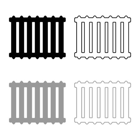 Cast iron battery Heating radiator icon outline set black grey color vector illustration flat style simple image