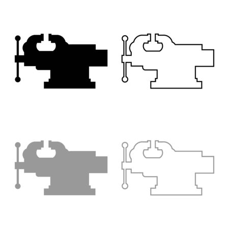Vice Jaw vise Repair clamp tool icon outline set black grey color vector illustration flat style simple image