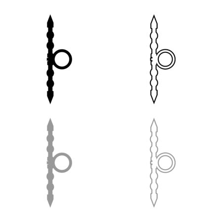 Santensu weapon of samurai for hand icon outline set black grey color vector illustration flat style simple image