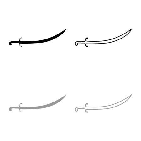 Turkish saber Scimitar Sabre of arabian persian Curved sword icon outline set black grey color vector illustration flat style simple image