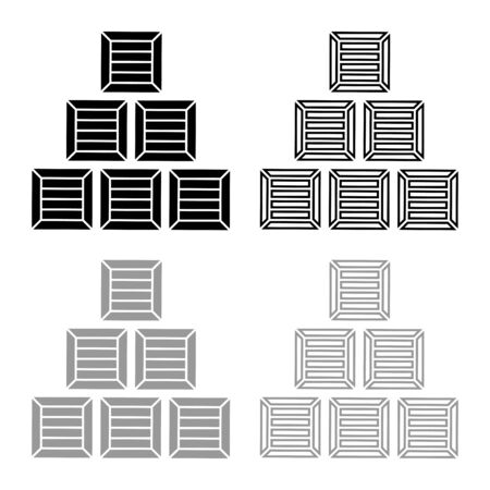 Pyramid crates Wooden boxs Containers icon outline set black grey color vector illustration flat style simple image Vectores