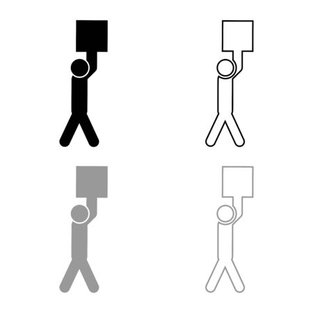 Man carries load in his arms above himself Stick work on delivery parcel icon outline set black grey color vector illustration flat style simple image