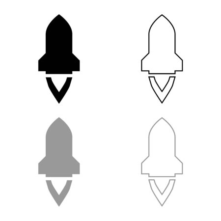 Rocket with flame in flying Spaceship launching Space exploration War weapon concept icon outline set black grey color vector illustration flat style simple image
