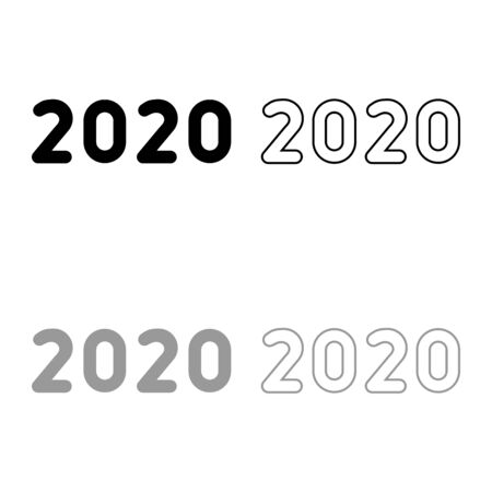 2020 text symbols New Year letters icon outline set black grey color vector illustration flat style simple image