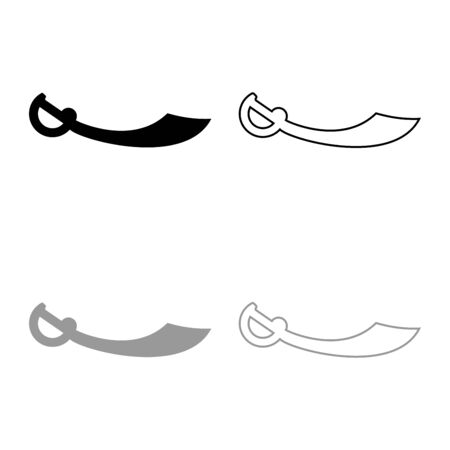 Pirate saber Cutlass icon outline set black grey color vector illustration flat style simple image