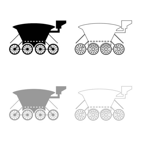 Moon rover Mars explorer Space machine Planets vehicle icon outline set black grey color vector illustration flat style simple image  イラスト・ベクター素材