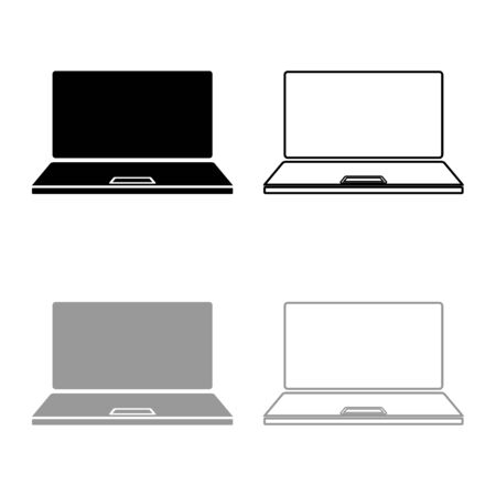 Laptop icon outline set black grey color vector illustration flat style simple image