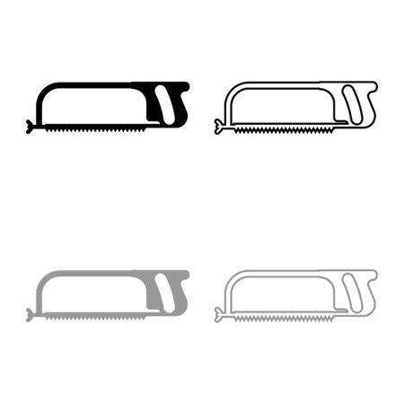 Hacksaw for metal and manual using Hand saw Repair tool icon outline set black grey color vector illustration flat style simple image