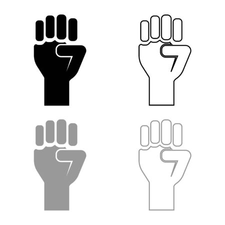 Fist up Concept of freedom fight revolution power protest icon outline set black grey color vector illustration flat style simple image